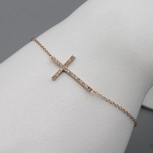 Sterling silver rose gold plated cross bracelet